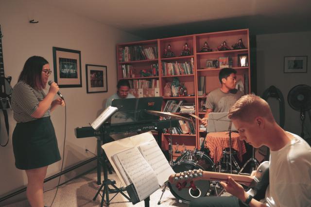 Kaya and band practicing