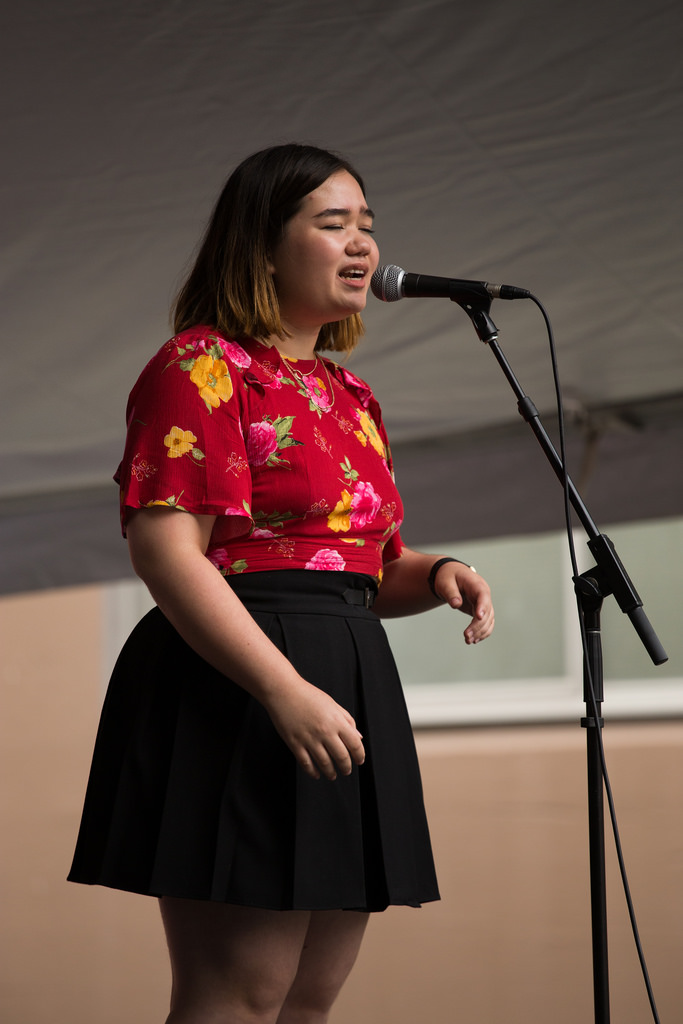 Kaya singing at the Powell Street Festival